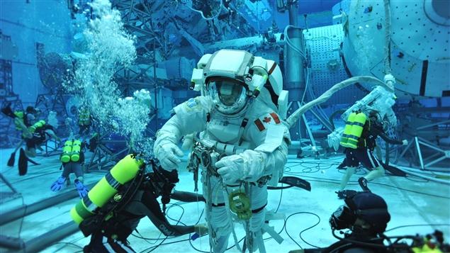 L'astronaute québécois David Saint-Jacques pendant un entraînement de la NASA à Houston au Texas.