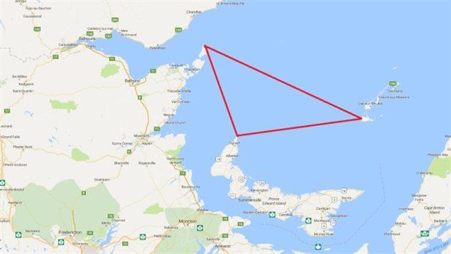 Zone approximative du golfe Saint-Laurent où les cadavres ont été trouvés (nord-ouest de l'Île-du-Prince-Édouard, pointe est du nord-est du Nouveau-Brunswick et les Îles-de-la-Madeleine (Google Maps)
