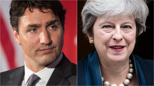 À gauche: le premier ministre Justin Trudeau. À droite, la première ministre britannique Theresa May. Drew Angerer / Getty Images Jack Taylor / Getty Images RCI avec La Presse canadienne et Radio-Canada