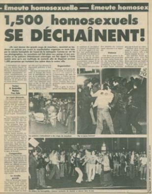 En juin 1976, près de 2000 personnes ont participé à la première manifestation homosexuelle de l'histoire du Québec en marchant sur le boulevard Dorchester (aujourd'hui nommé «boulevard René-Lévesque»