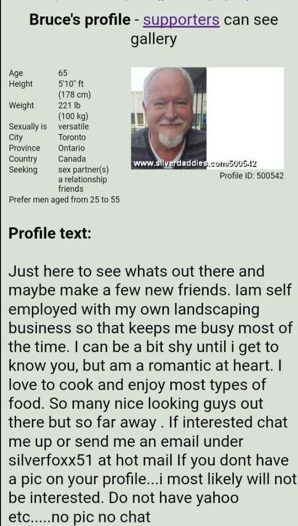 Profil en ligne de l'accusé sur silverdaddies.com