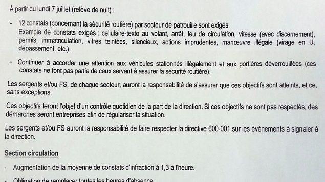 Une note de service destinée aux policiers de la Régie intermunicipale de police Richelieu Saint-Laurent, au sud-est de Montréal, dont Radio-Canada a obtenu copie, énonce clairement un objectif de 12 constats d'infraction par quart de travail, en prévision de l'été et de l'automne 2014.