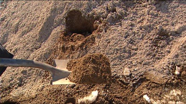 De l'abrasif à base de betterave de l'entreprise Gravier Collert Transport, au Manitoba