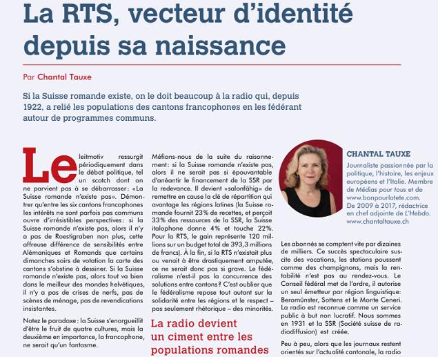 Extrait d'un article de presse de Chantal Tauxe pour éviter l'élimination du financement public, en tout ou en partie, de la radio-télédiffusion en Suisse. Photo : CultureEnjeux.ch