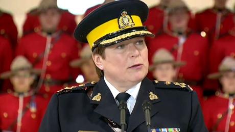 Brenda Lucki prend la parole à Regina après avoir été nommée 24e commissaire de la GRC. Lucki commence son nouveau rôle en avril. (CBC)