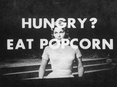 Publicité subliminale des années 1950 au cinéma.