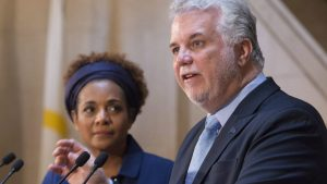 Michaëlle Jean et Philippe Couillard Photo : La Presse canadienne/Jacques Boissinot