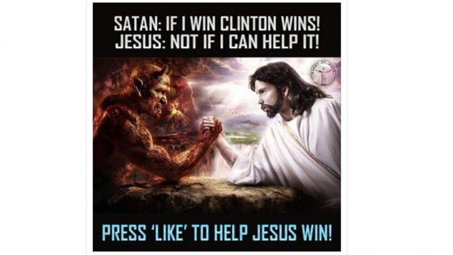 Publication russe sur Facebook mettant en vedette Jésus et Satan. Photo : Gracieuseté /comité de renseignement du Congrès américain