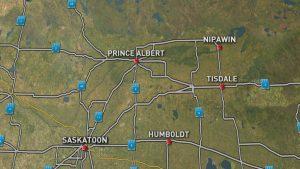 La collision a eu lieu entre Nipawin et Tisdale, deux petites collectivités situées au nord-est de Saskatoon. (Photo CBC)