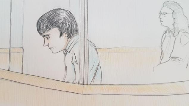 Une illustration d'Alexandre Bissonnette lors de son passage au tribunal le 26 mars 2018 Photo : Radio-Canada / Francis Desharnais