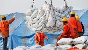 Des travailleurs chinois au port de Nantong transportent des sacs de soya importés. Les États-Unis sont un grand exportateur de cette céréale. Photo : Reuters/China Stringer Network