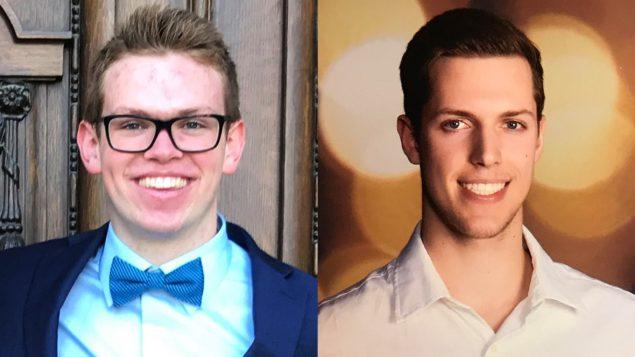 Xavier Labelle à droite, a survécu à l'accident d'autobus vendredi près de Tisdale, en Saskatchewan, alors que Parker Tobin, à gauche, est mort . (À gauche: Soumis par Brandon Ewanchyshyn, à droite: Soumis par Tanya Labelle)