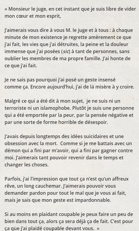 La lettre d'aveu de culpabilité d'Alexandre Bissonnette