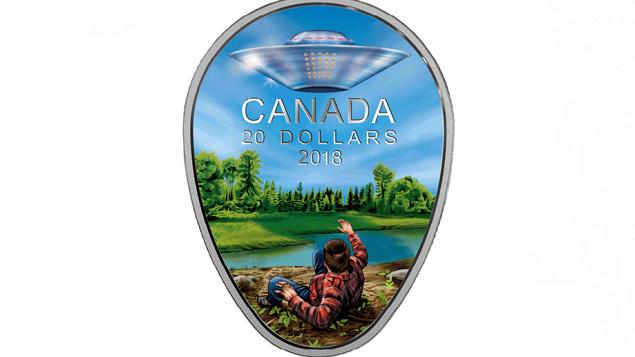 La nouvelle pièce en forme d'OVNI. Photo : RCI et Monnaie royale canadienne