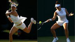Les Canadiennes Eugenie Bouchard et Bianca Andreescu à Wimbledon en 2018.
