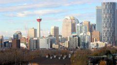 POint de vue sur le centre-ville de Calgary dans le sud de l'Alberta.