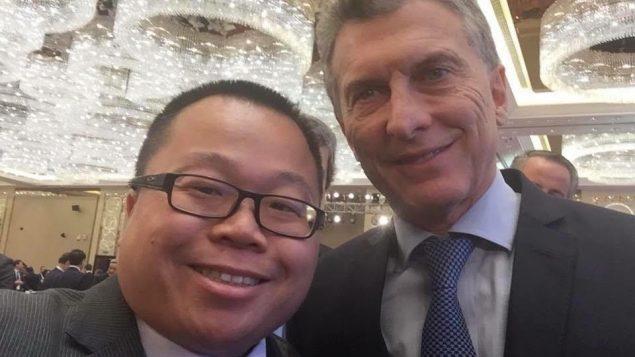 Winston Chan en compagnie du président de l'Argentine Mauricio Macri.
