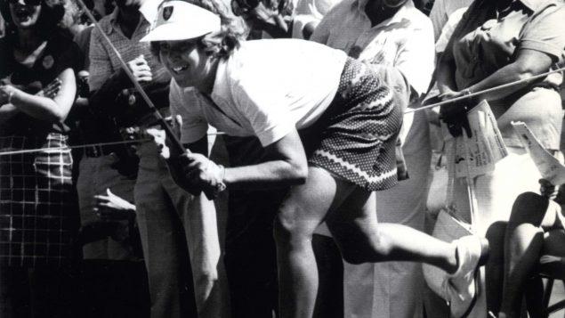 La golfeuse canadienne Sandra Post lors d'un tournoi de golf au Michigan en 1978.