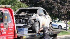 L'explosion de la voiture électrique aurait pris naissance au niveau du branchement du véhicule ou de la pile - Radio Canada / Mathieu Daniel Wagner