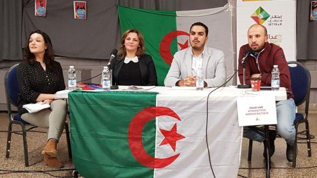 De gauche à droite : Kahina Aouamer, modératrice et les panélistes : Sabeha Hebib, Raouf Farrah et Amine Menadi - Photo : Ibtykar