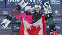 Laurie Blouin, médaillée d'or en slopestyle en compagnie de son compatriote Liam Brearley qui a raflé le bronze dans la même discipline chez les hommes - Calgary 16 Février 2020 – Photo : La Presse Canadienne / Dave Chidley