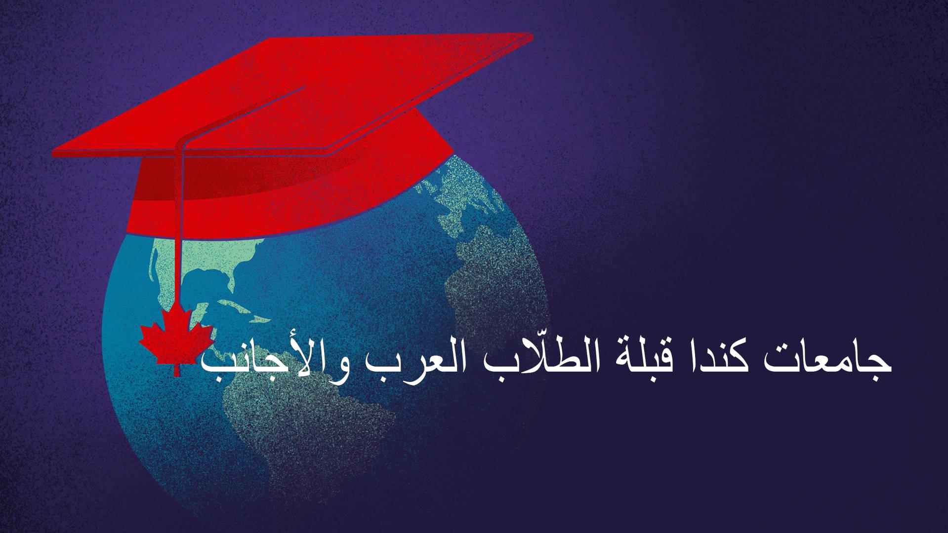 le texte «جامعات كندا قبلة الطلّاب العرب والأجانب» en blanc avec comme fond un globe terrestre avec un chapeau de finissant