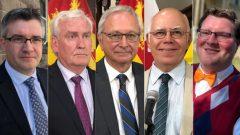 Les chefs de parti de gauche à droite : Kris Austin (Alliance des gens), Kevin Vickers (Parti libéral), Blaine Higgs (Parti progressiste-conservateur), David Coon (Parti vert), Mackenzie Thomason (Nouveau Parti démocratique). PHOTO : RADIO-CANADA / JEAN-PHILIPPE HUGHES (AUSTIN, VICKERS, HIGGS, COON) ET CBC / JACQUES POITRAS (THOMASON)