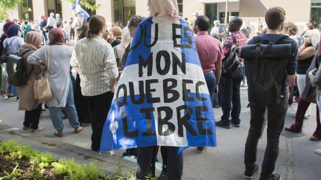 Manifestation à Montréal après l'adoption du projet de loi 21 sur la laïcité de l'État au Québec - La Presse canadienne / Graham Hughes