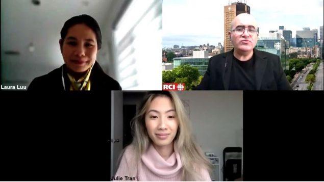 Laura Luu (en haut à gauche) et Julie Tran, deux des co-fondatrices du Groupe d'entraide contre le racisme envers les asiatiques au Québec, en entrevue avec le journaliste Samir Bendjafer de Radio Canada International - Photo : RCI