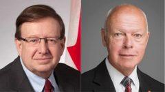 عضوا مجلس الشيوخ الكندي جان غي داجني (إلى اليمين) وبيرسي داون/Senate of Canada