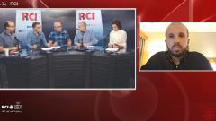 أسرة القسم العربي وضيفا البرنامج، جاب الله سايغي في الاستديو وأمين منّادي عبر سكايب في 22-11-2019/RCI