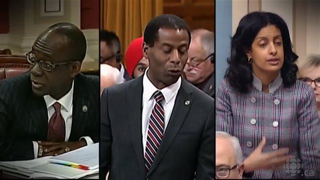 De izq. a der: Emmanuel Dubourg, Greg Fergus y Dominique Anglade, tres diputados canadienses. Crédito de la foto: Radio Canadá.