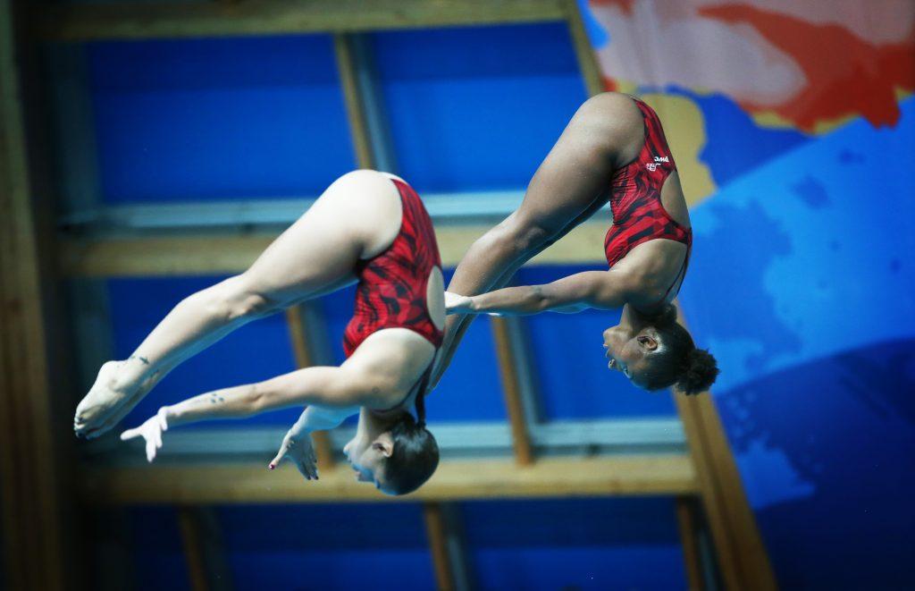 Jennifer Abel et sa partenaire Pamela Ware au 3 mètres synchronisé ©Diving / Plongeon Canada