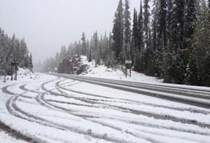 على هذا الجزء من أوتوستراد الترانس كنديان في كولومبيا البريطانية يتساقط ما معدّله اثنا عشر مترا من الثلوج سنويا في فصل الشتاء. (أدم بيكر