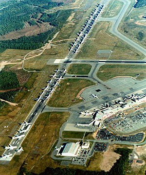 Aerial view of Gander Airport September 11, 2001. Parked on the runway are several aircraft that were supposed to land in the United States. (Halifax International Airport Authority)