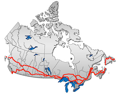 In some regions of Canada, the Trans-Canada Highway network consists of two distinct sections that link up in major cities. (Public Domain)