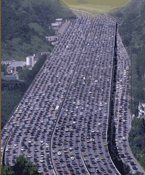Toronto is the fifth largest city in North America in terms of size. Traffic is heavy on Highway 401. (CBC News)