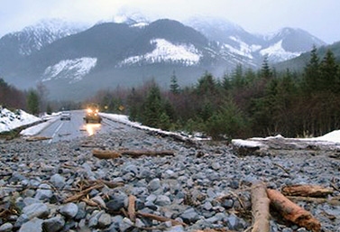 A landslide forced the closure of Highway 19, about 40 kilometres north of Sayward River Bridge, Vancouver Island. (Drive BC)
