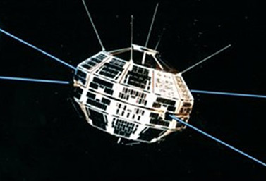 The first Canadian satellite, Alouette 1. It was launched on September 29, 1962, from an airbase in Vandenberg, California. (Canadian Space Agency)