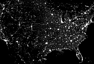 A satellite image of North America. Montreal and Toronto, which are among the brightest cities on the continent, can be clearly seen in Eastern Canada. (NASA)