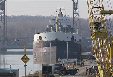 A ship waits for the opening of the locks in St. Catherine's, Ontario. (Mark Chambers)