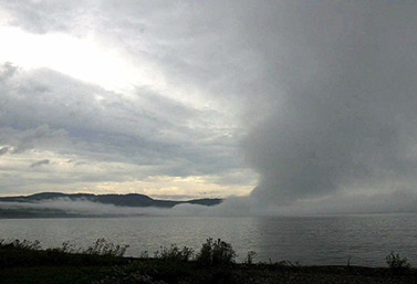A screen of mist rising over Lake Superior, one of the five Canadian Great Lakes. (Canadian Press)