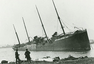 The Norwegian ship Imo washed up on shore after the explosion of 1917. It had collided with the French vessel Mont Blanc. (Nova Scotia Archives & Records Management / Canadian Press)