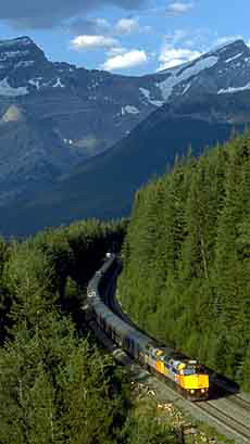Via Rail train making its way through forests overlooked by mountains between Jasper, Alberta and Vancouver, British Columbia. (Via Rail/Canadian Press)