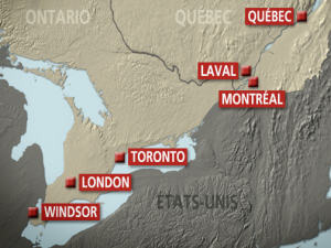 Six cities on the potential TGV route in eastern Canada