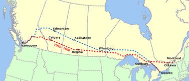Mapa de una parte del trayecto recorrido por los trenes en la vía férrea transcanadiense entre las ciudades de Vancouver y Montreal. (Wikipédia)