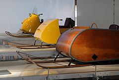 L'évolution du Ski-Doo. Voici différents prototypes qu'on peut voir au Musée Bombardier de Valcourt, au Québec. (Handout/Canadian Press)
