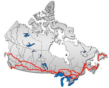 Le réseau de la Transcanadienne. Dans certaines régions du pays, cette autoroute est constituée de deux tronçons distincts afin de relier la plupart des villes importantes.  (Domaine public)