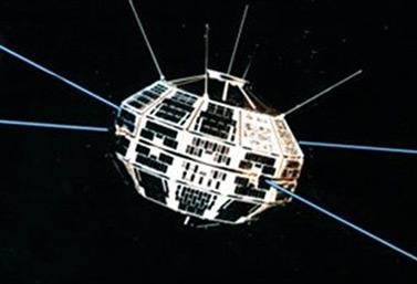 Le premier satellite canadien, Alouette-1. Il est lancé le 29 septembre 1962 de la base aérienne de Vandenberg, en Californie. (Agence spatiale canadienne)