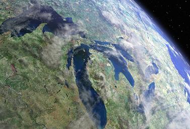 Les Grands Lacs vus de l'espace (Mark Alberts/Mongrel Media)